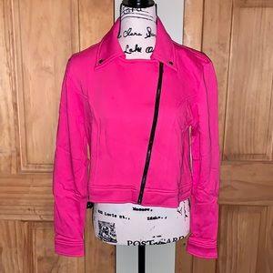 NWT M LuLaRoe Hot Pink Presley Moto Jacket